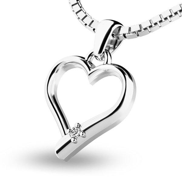 Srdce z bílého zlata s briliantem 10917-B