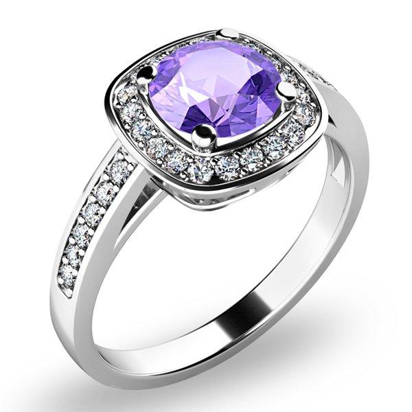 Dámský prsten s ametystem a brilianty 10766-B-AME