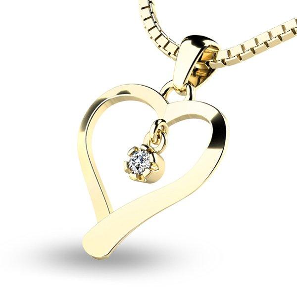 Srdce ze žlutého zlata s diamantem 10918-ZL