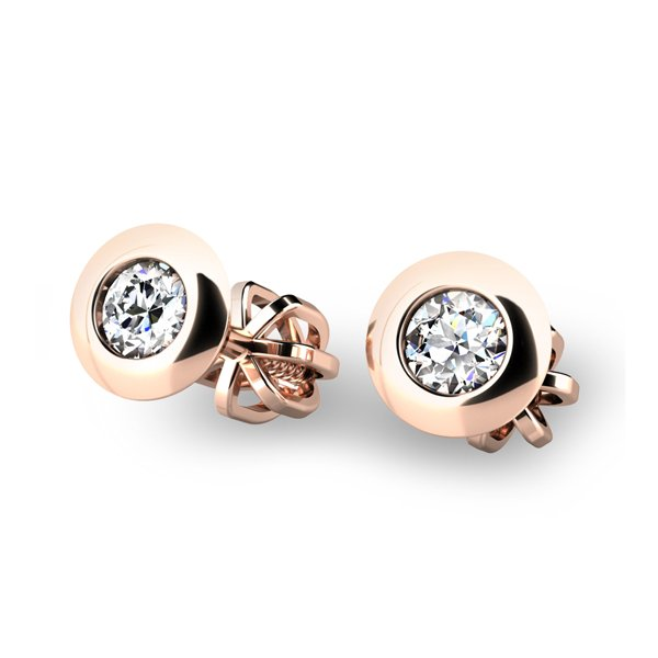 Diamantové náušnice z růžového zlata 10825-CV