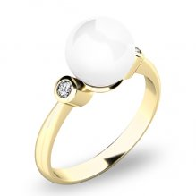 Prsten s perlou a brilianty 10867-ZL-FW