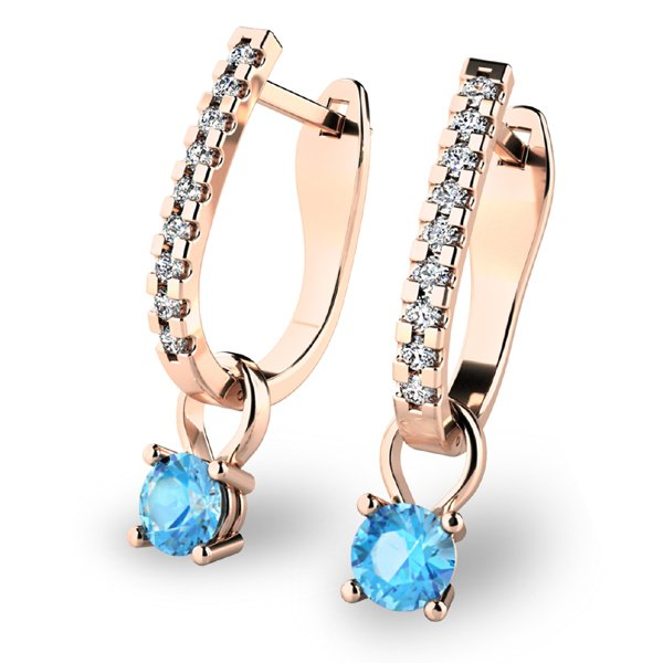 Diamantové náušnice s topazy 10862-CV-TPZ