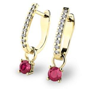 Diamantové náušnice s rubíny 10862-ZL-RUB