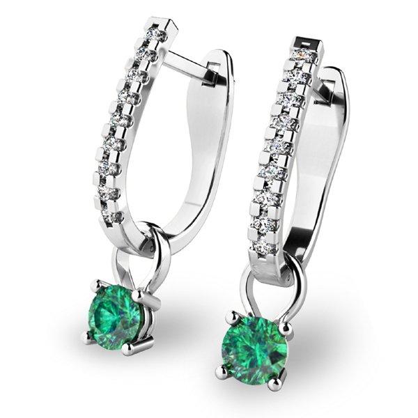 Diamantové náušnice se smaragdy 10862-B-SMA