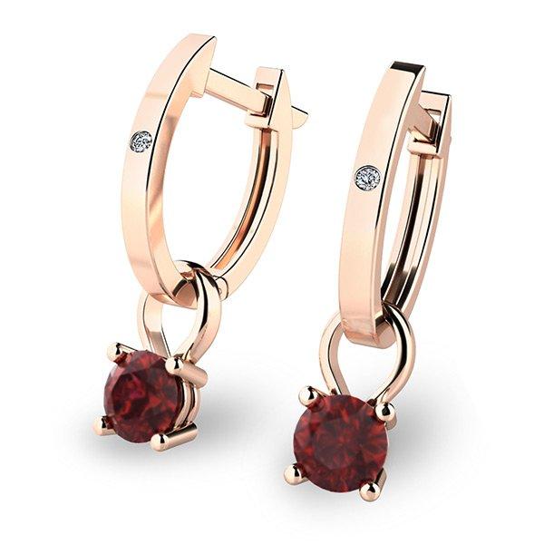 Zlaté oválky s diamanty a granáty 10861-CV-GRA