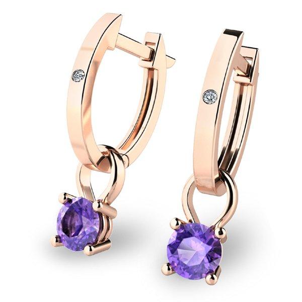 Zlaté oválky s diamanty a tanzanity z růžového zlata 10861-CV-TAN