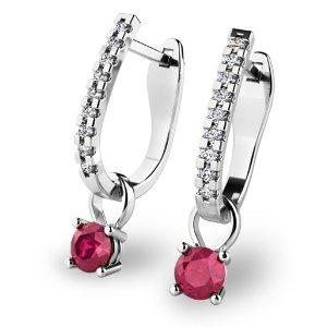 Diamantové náušnice s rubíny 10862-B-RUB