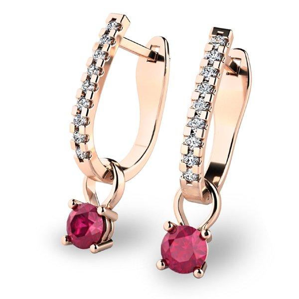 Diamantové náušnice s rubíny 10862-CV-RUB