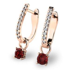 Diamantové náušnice s granáty 10862-CV-GRA