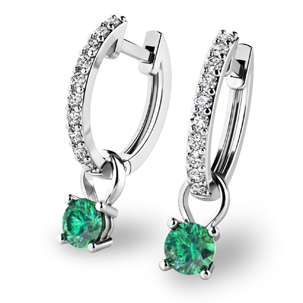 Briliantové náušnice se smaragdem 10863-B-SMA