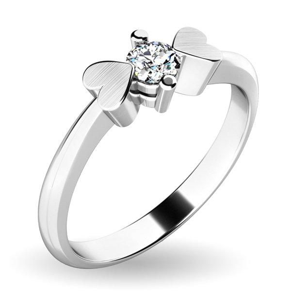 Prsten se srdíčky a diamantem 10932D