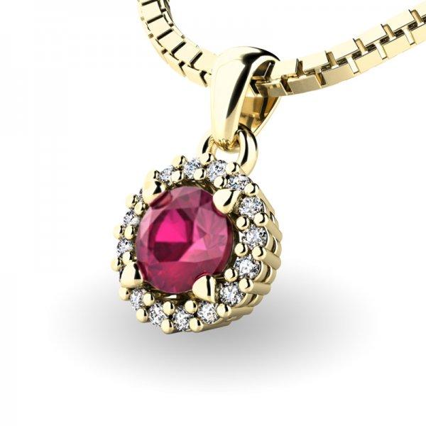Luxusní přívěsek s rubínem a diamanty 10927-ZL-RUB