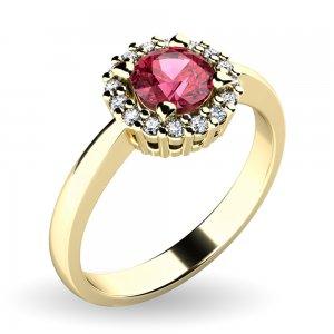 Dámský prsten s turmalínem a brilianty 10924-ZL-TUR