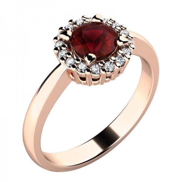 Dámský prsten s granátem a brilianty 10924-CV-GRA