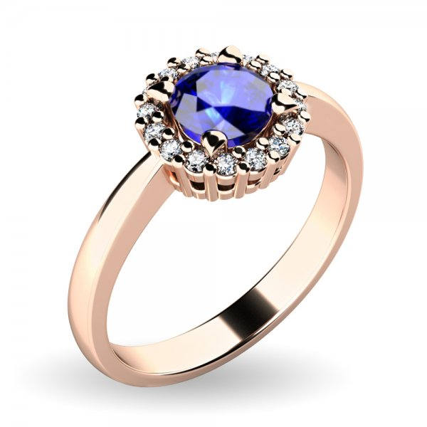 Dámský prsten se safírem a brilianty 10924-CV-SAF