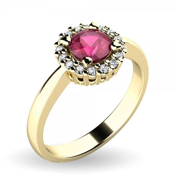 Dámský prsten s rubínem a brilianty 10924-ZL-RUB