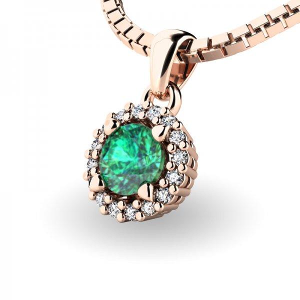 Luxusní přívěsek se smaragdem a diamanty 10927-CV-SMAR