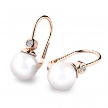 Náušnice s perlou a diamanty 10868CV-DIA