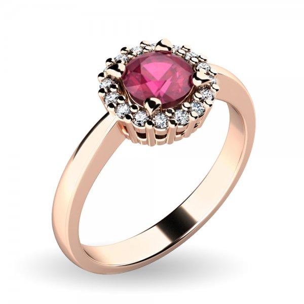 Dámský prsten s rubínem a brilianty 10924-CV-RUB
