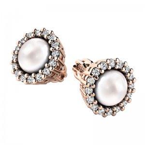 Perlové náušnice s diamanty 10930-CV-FW