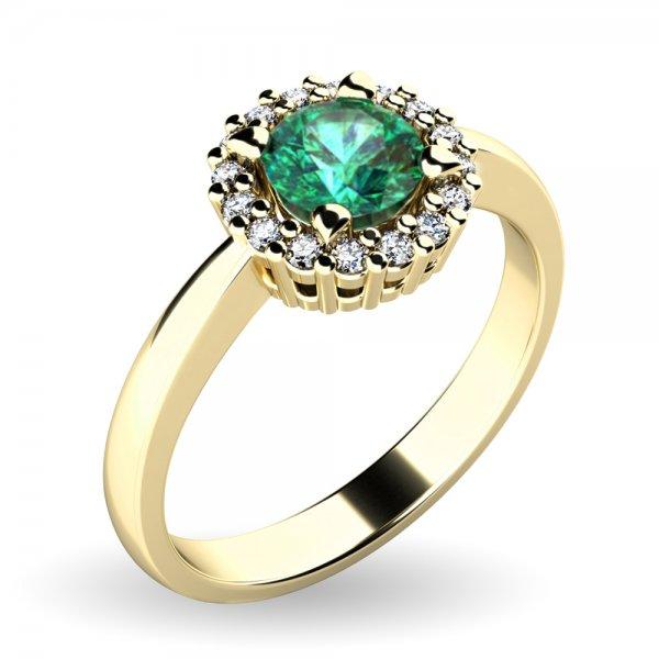 Dámský prsten se smaragdem a brilianty 10924-ZL-SMAR