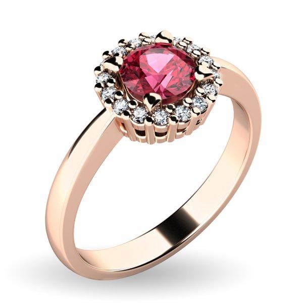 Dámský prsten s turmalínem a brilianty 10924-CV-TUR
