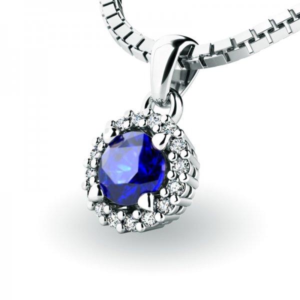 Luxusní přívěsek se safírem a diamanty 10927-B-SAF