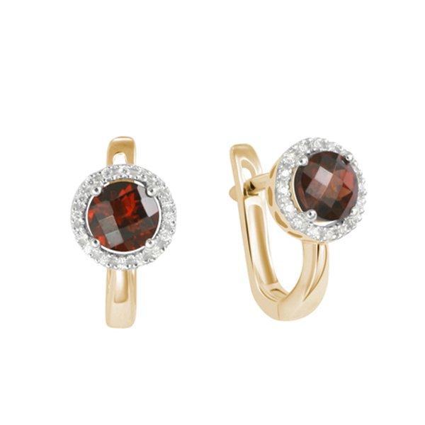 Náušnice s diamanty a granátem GKW47232GRA