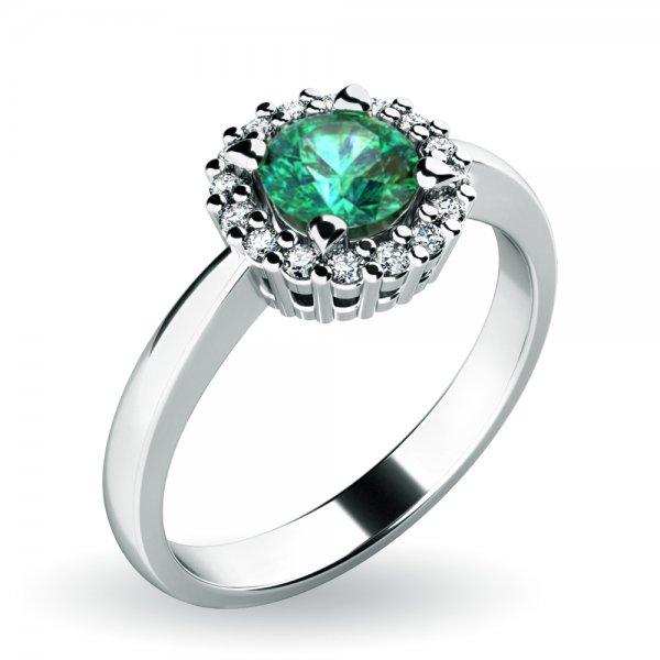 Dámský prsten se smaragdem a brilianty 10924-B-SMAR