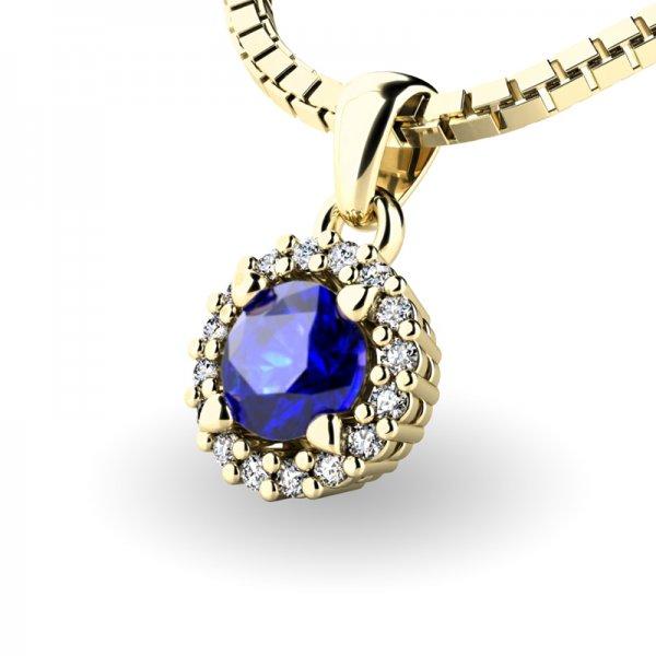 Luxusní přívěsek se safírem a diamanty 10927-ZL-SAF
