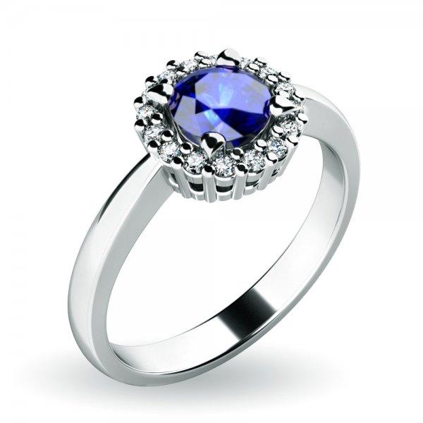 Dámský prsten se safírem a brilianty 10924-B-SAF