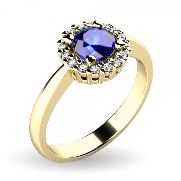 Dámský prsten se safírem a brilianty 10924-ZL-SAF