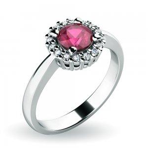 Dámský prsten s rubínem a brilianty 10924-B-RUB