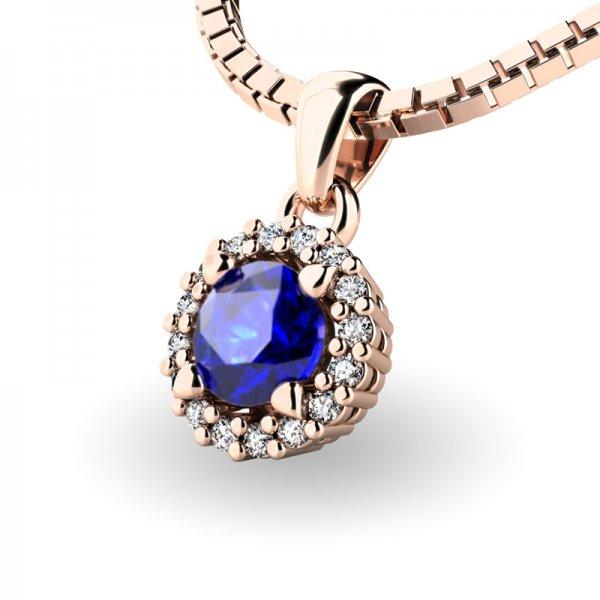 Luxusní přívěsek se safírem a diamanty 10927-CV-SAF