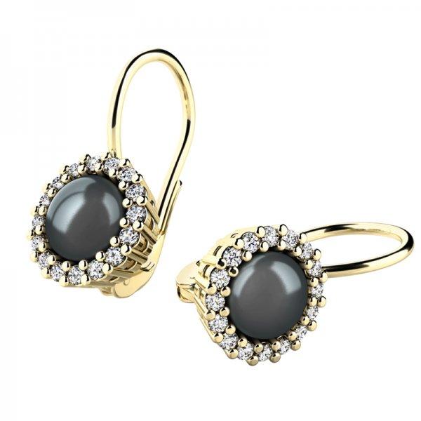 Perlové náušnice s diamanty 10929-ZL-FW-Black