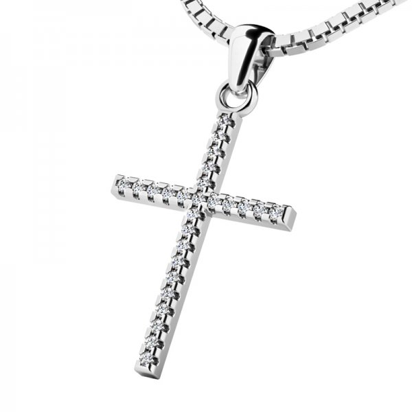 Zlatý kříž s diamantem 10946-B-DIA