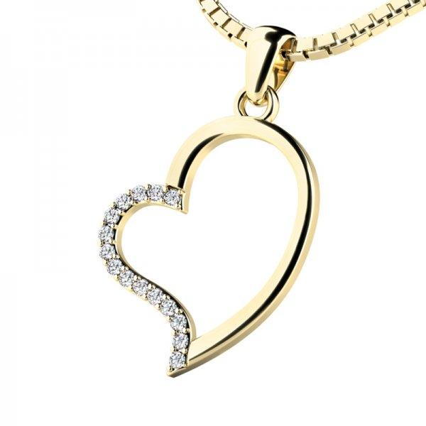 Srdce ze žlutého zlata s diamanty 10948-ZL-DIA