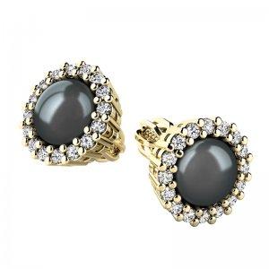 Perlové náušnice s diamanty 10930-ZL-FW-Black