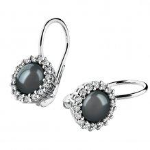 Perlové náušnice s diamanty 10929-B-FW-Black