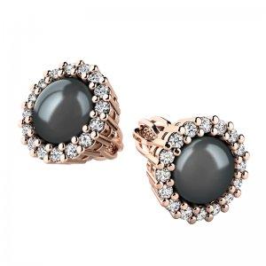 Náušnice s černou perlou a brilianty 10930-CV-FW-Black