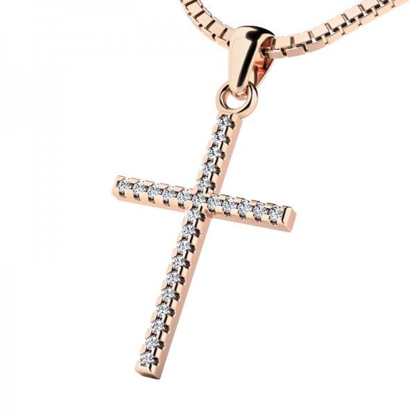 Zlatý kříž s diamantem 10946-CV