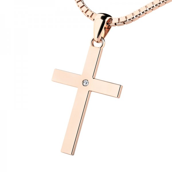 Kříž z růžového zlata s diamantem 10947-CV-DIA