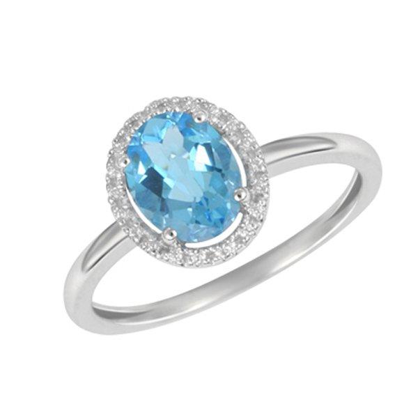 Prsten z bílého zlata s diamanty a topazem GKW47251TPZ