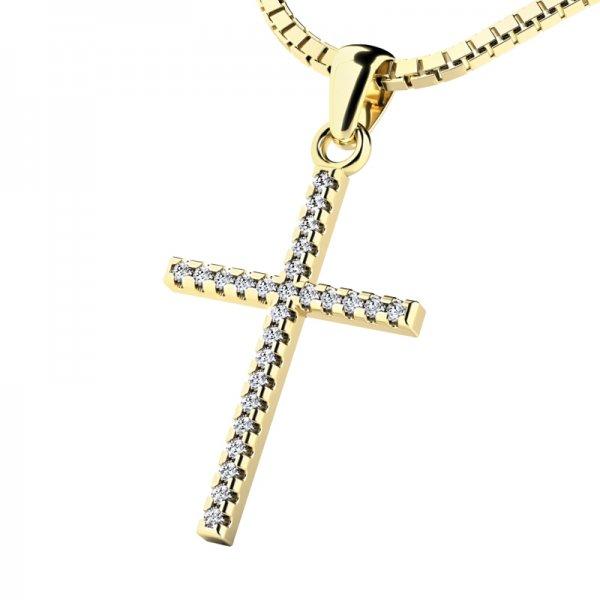 Zlatý kříž s diamantem 10946-ZL-DIA