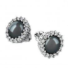 Náušnice s černou perlou a brilianty 10930-B-FW-Black