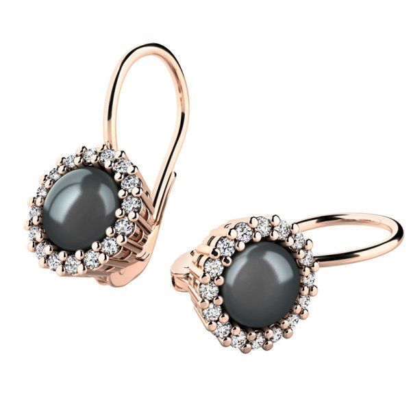 Perlové náušnice s diamanty 10929-CV-FW-Black