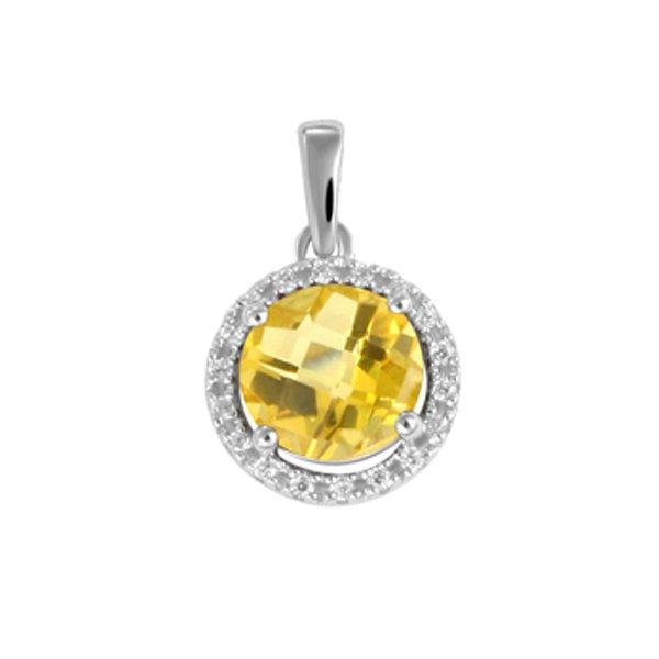 Luxusní přívěsek s citrínem a diamanty GKW47233CIT