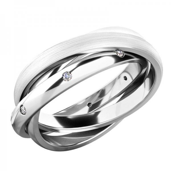 Prsten - tři kroužky s diamanty 61075-DIA
