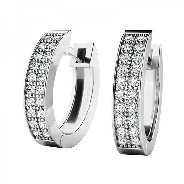 Náušnice oválky s diamanty 10950-B
